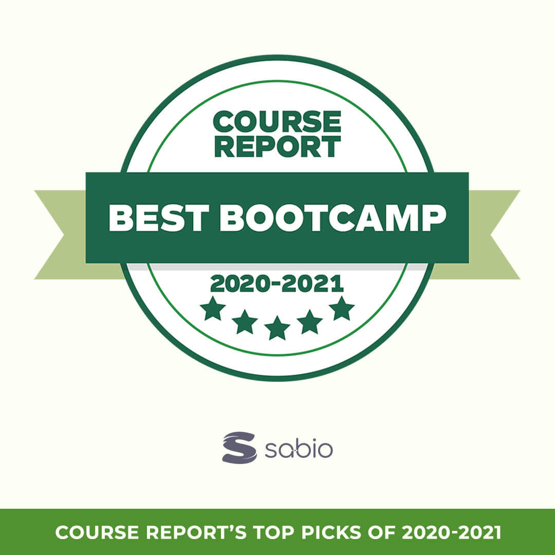 Green and white infographic from course report showing Sabio as top pick for 2020-2021 best bootcamp great tech job
